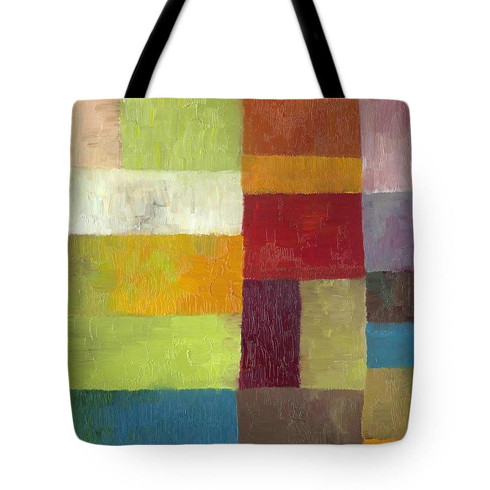 Abstract Tote Bag featuring the painting Abstract Color Study Lv by Michelle Calkins