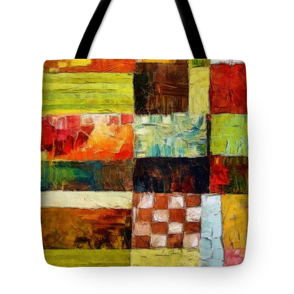 Patchwork Tote Bag featuring the painting Abstract Color Study With Checkerboard And Stripes by Michelle Calkins