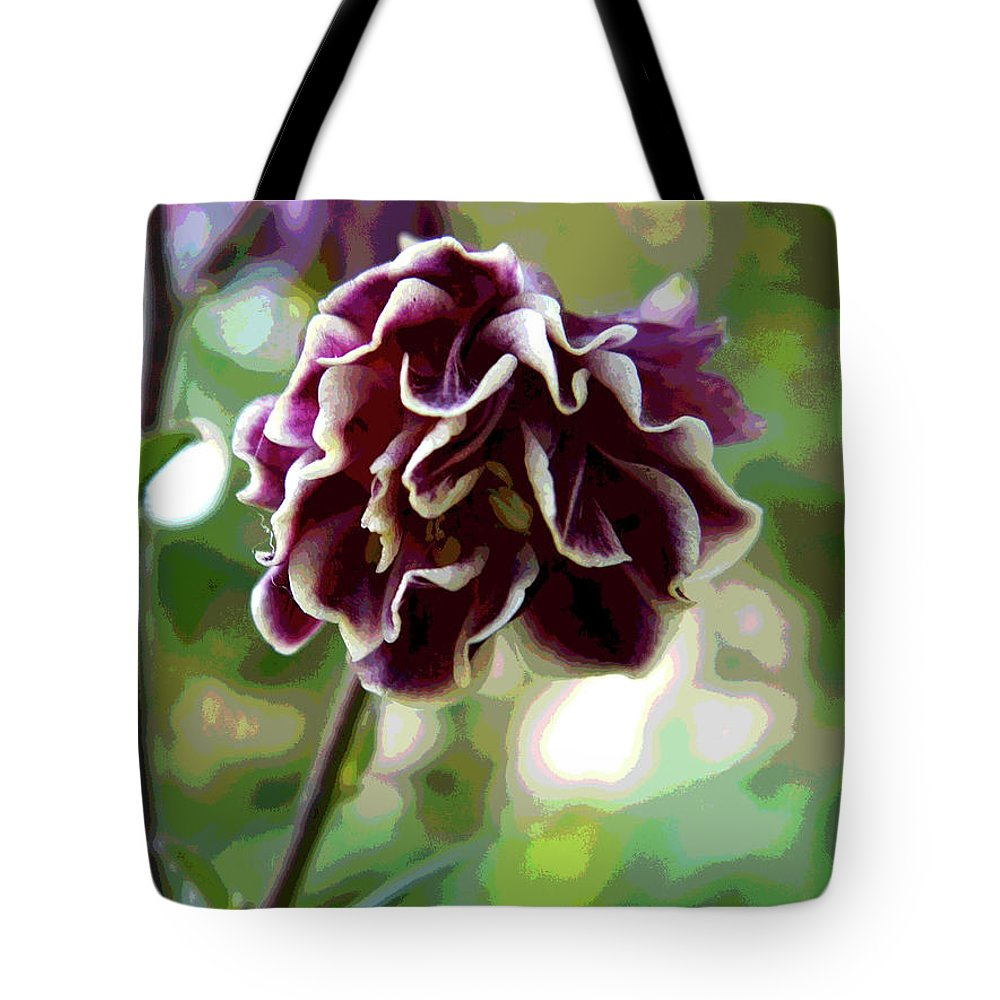 Purple Tote Bag featuring the photograph Abstract Columbine by Linda Weyers
