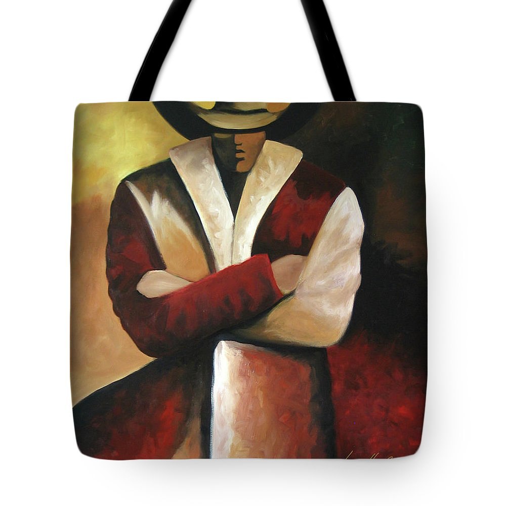 Tote Bag featuring the painting Abstract Cowboy by Lance Headlee