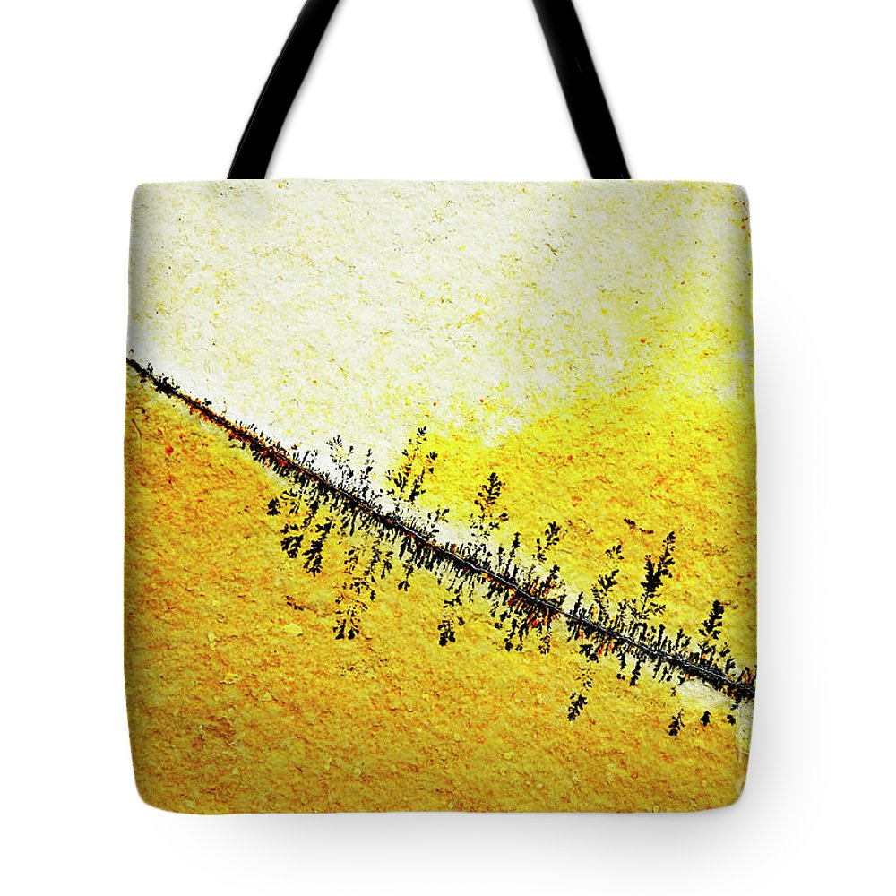 Background Tote Bag featuring the photograph Abstract Crack Line On The Orange Rock by Jozef Jankola