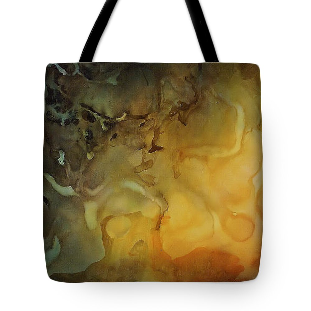 Large Abstract Design Tote Bag featuring the painting Abstract Design 1 by Michael Lang