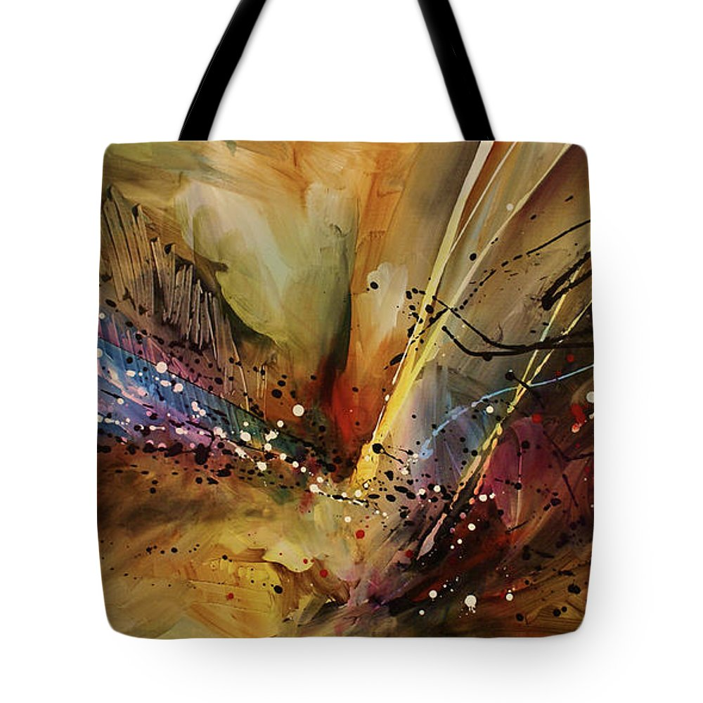 Abstract Expressionism Tote Bag featuring the painting Abstract design 108 by Michael Lang