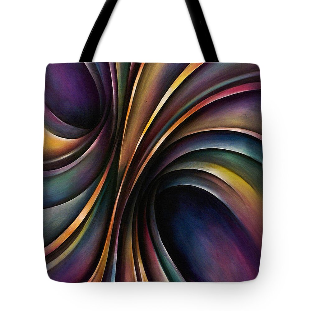 Chromatic Colorful Ribbon Multicolor Tote Bag featuring the painting Abstract Design 55 by Michael Lang