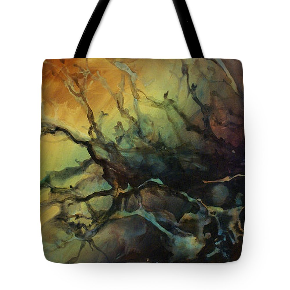 Abstract Art Painting Interior Decor Random Outside Fluid Liquid Earth Tones Garden Tote Bag featuring the painting Abstract Design 85 by Michael Lang