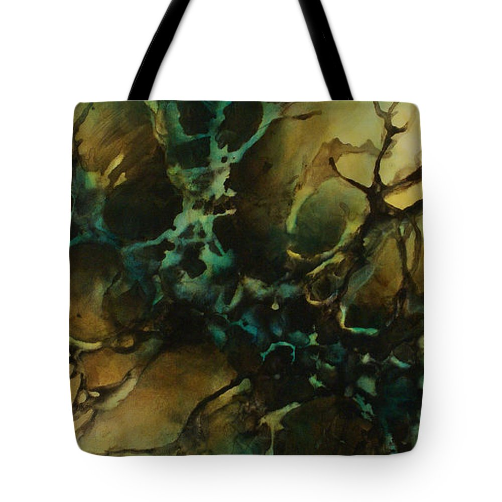 Painting Abstract Fluid Liquid Movement Green Art Decorative Earth Tone Tan Teal Blue Tote Bag featuring the painting Abstract Design 86 by Michael Lang