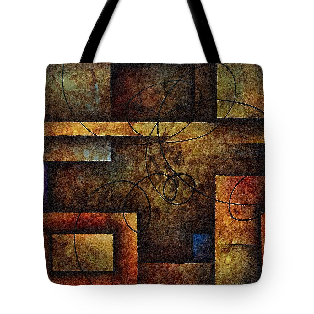 Abstract Art Tote Bag featuring the painting abstract design A by Michael Lang