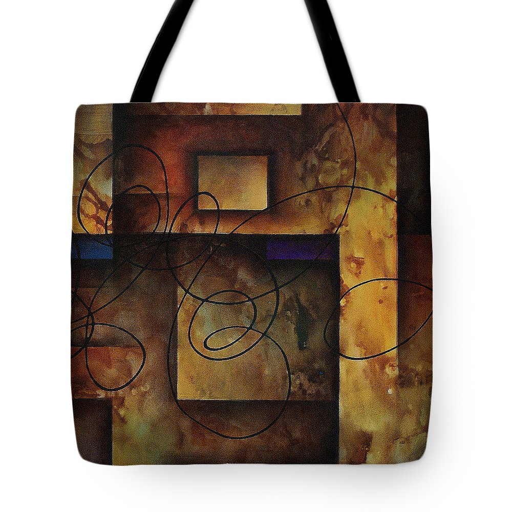 Abstract Art Tote Bag featuring the painting abstract design B by Michael Lang