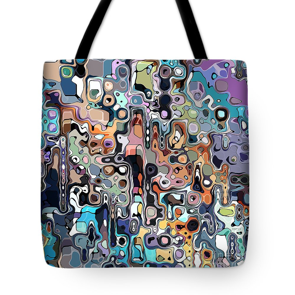Colorful Tote Bag featuring the digital art Abstract Digital Doodle 2 by Phil Perkins