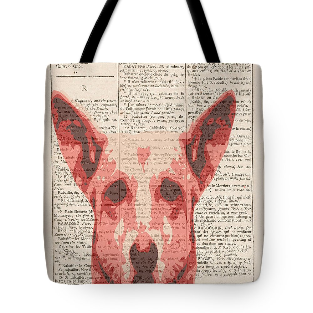 Dictionary Art Tote Bag featuring the digital art Abstract Dog On Dictionary by Keshava Shukla