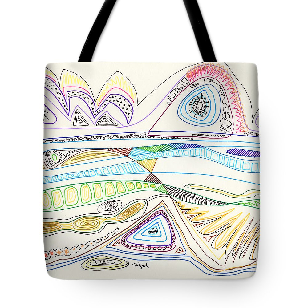 Abstract Tote Bag featuring the drawing Abstract Drawing Seventeen by Lynne Taetzsch