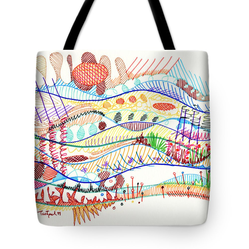 Abstract Tote Bag featuring the drawing Abstract Drawing Three by Lynne Taetzsch