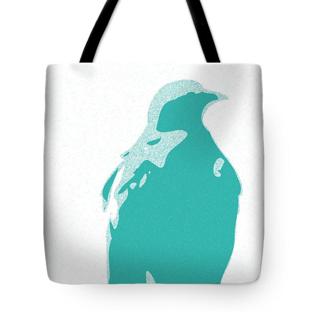Abstract Eagle Contours Cyan Tote Bag featuring the digital art Abstract Eagle Contours Cyan by Keshava Shukla