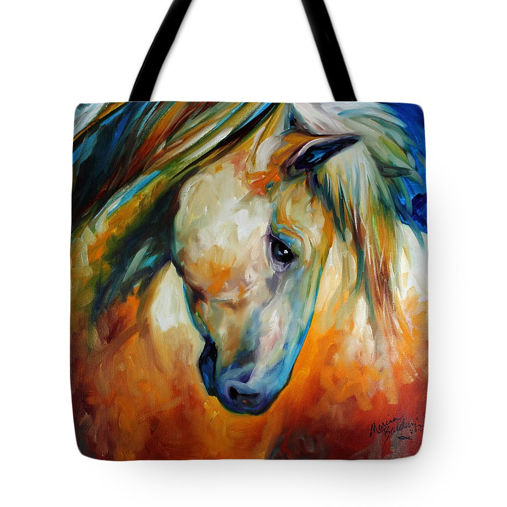 Horse Tote Bag featuring the painting Abstract Equine Eccense by Marcia Baldwin