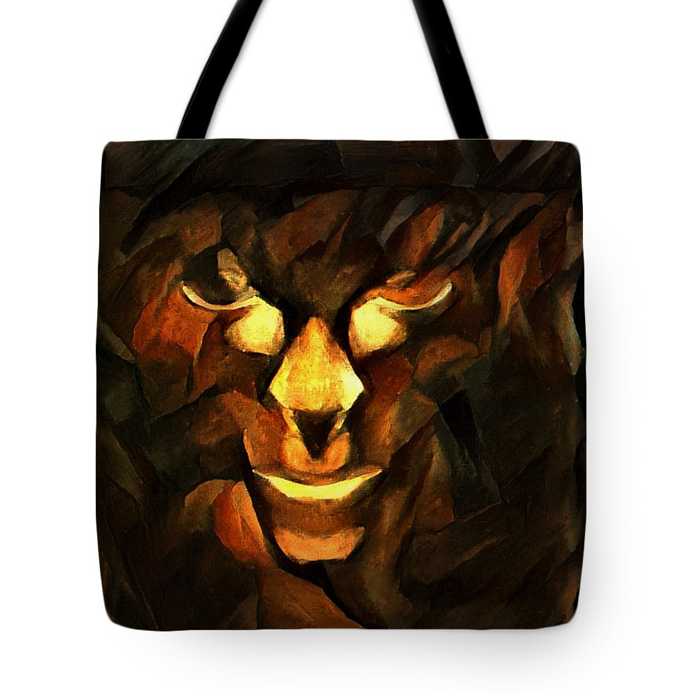 Abstract Tote Bag featuring the digital art Abstract Face by Michael Knight