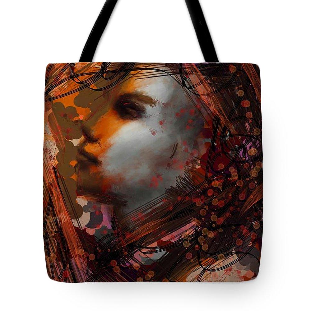 Uzart Tote Bag featuring the digital art Abstract Face #0066 by Urszula Zogman