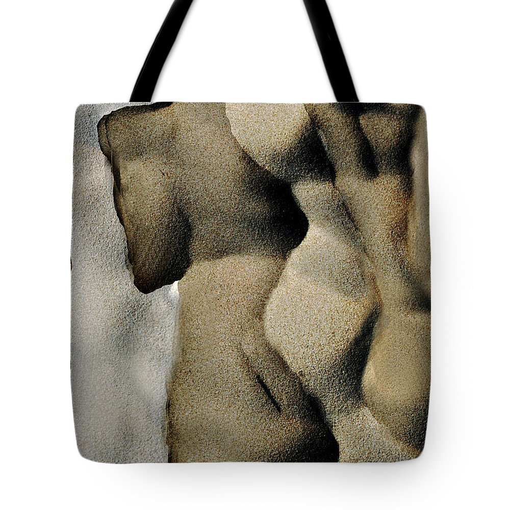 Abstract Tote Bag featuring the photograph Abstract Female Figure In Grey by Hana Shalom