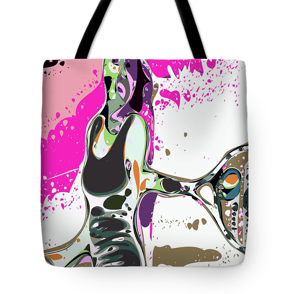 Tennis Tote Bag featuring the digital art Abstract Female Tennis Player by Chris Butler