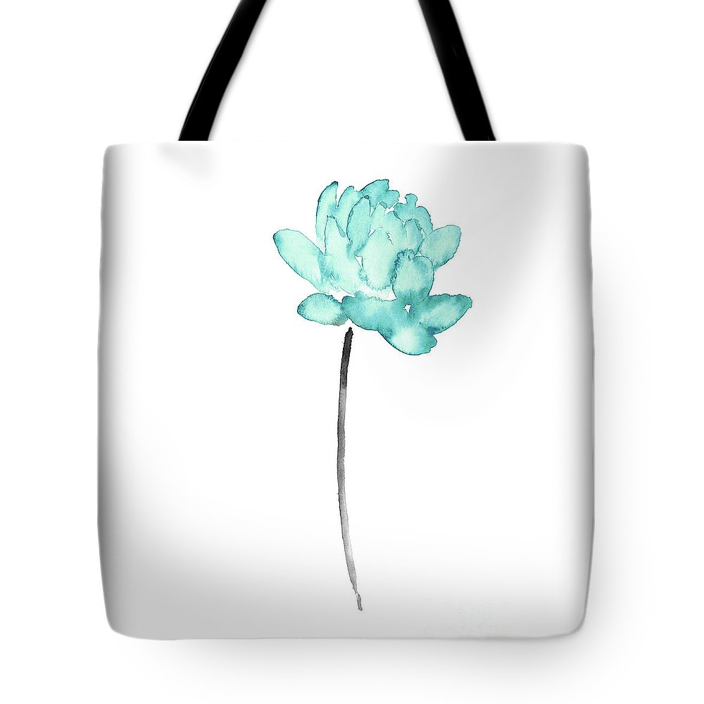Blue Lotus Flower Watercolor Painting Abstract Flower Art Print