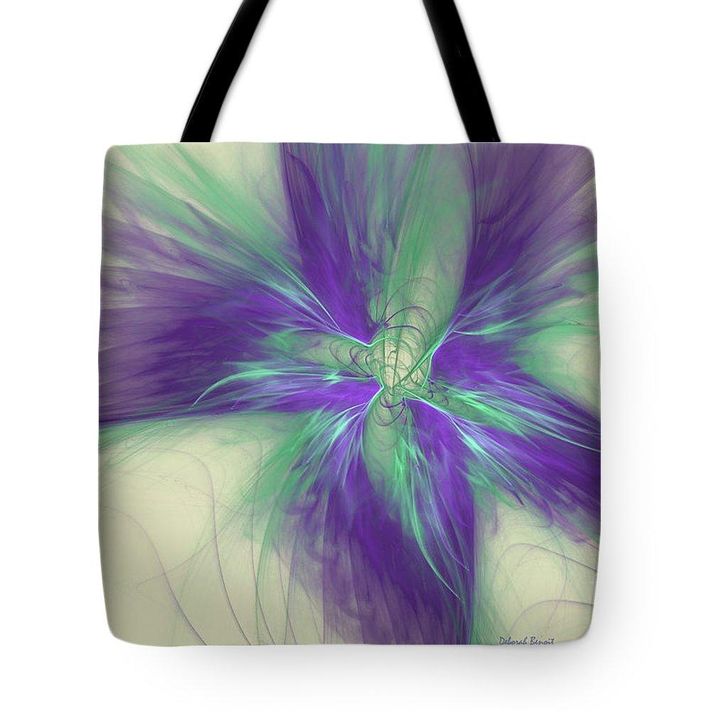 Digital Tote Bag featuring the digital art Abstract Flower Sway by Deborah Benoit