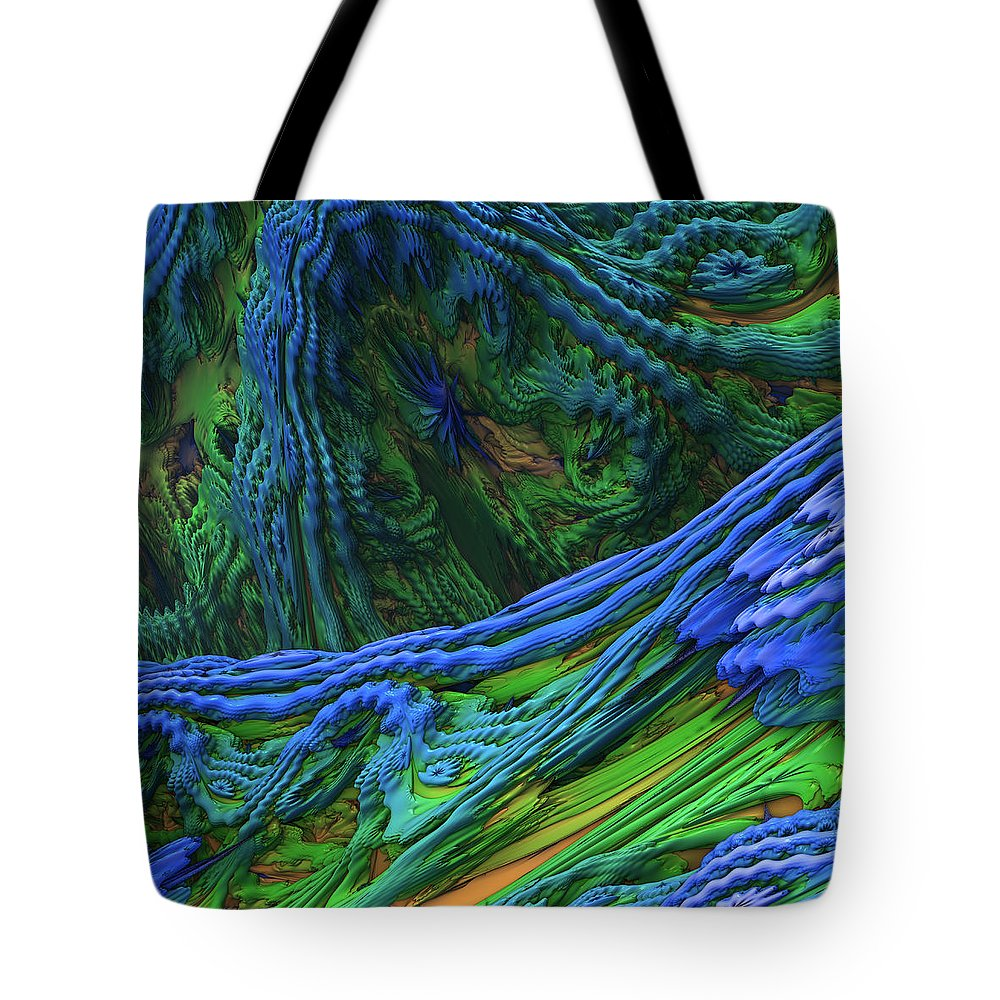 Abstract Tote Bag featuring the digital art Abstract Fractal Landscape by Miroslav Nemecek