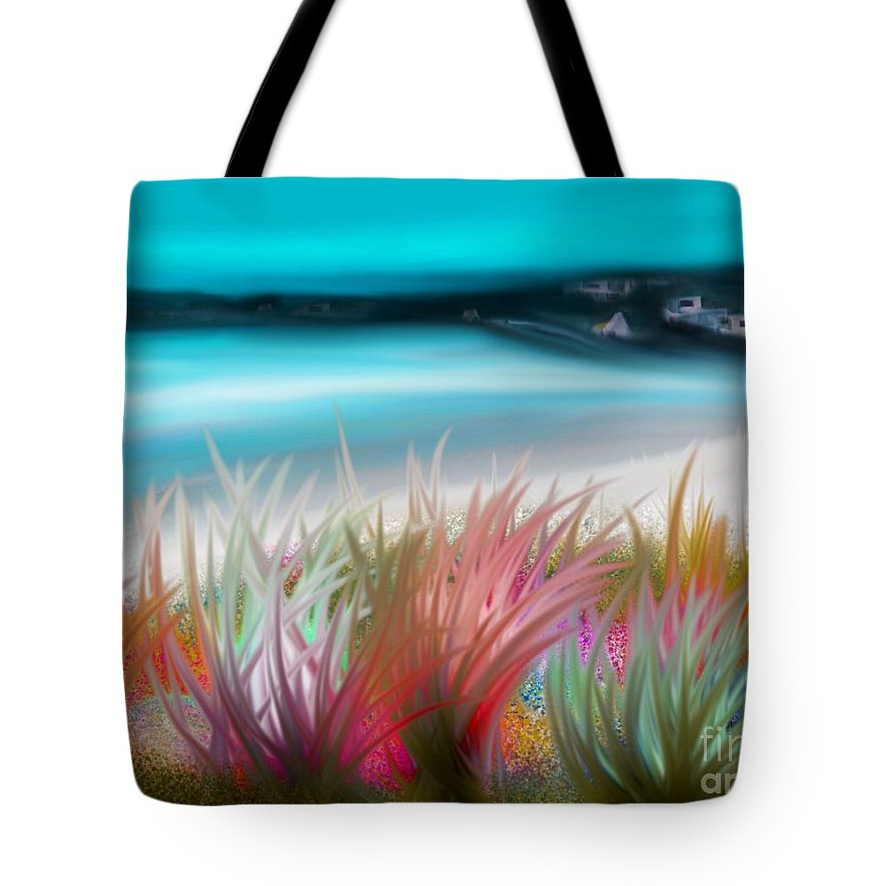 Original Tote Bag featuring the painting Abstract Grass Series 17 by ElsaDe Paintings
