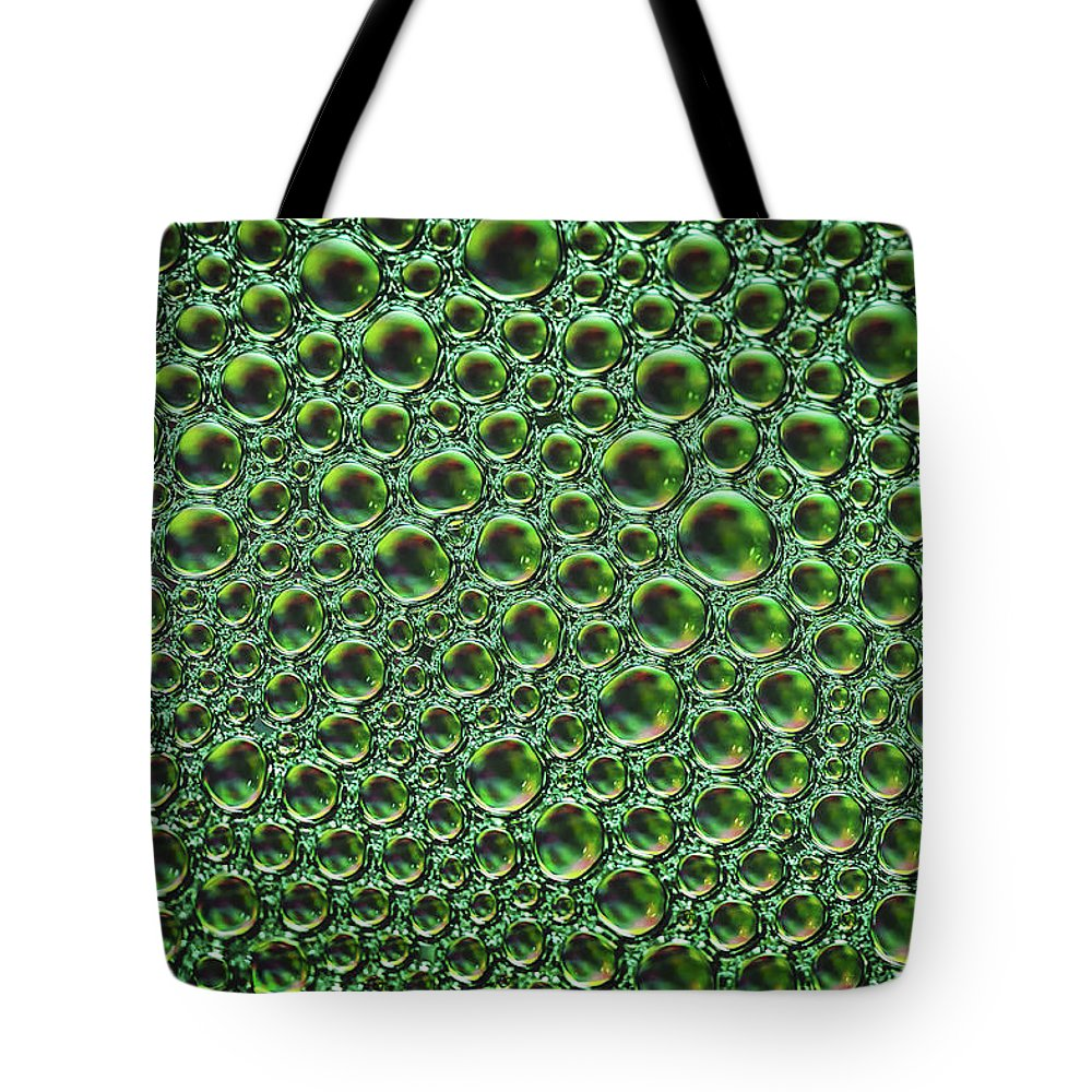 Abstract Tote Bag featuring the photograph Abstract Green Alien Bubble Skin by Mary Raderstorf