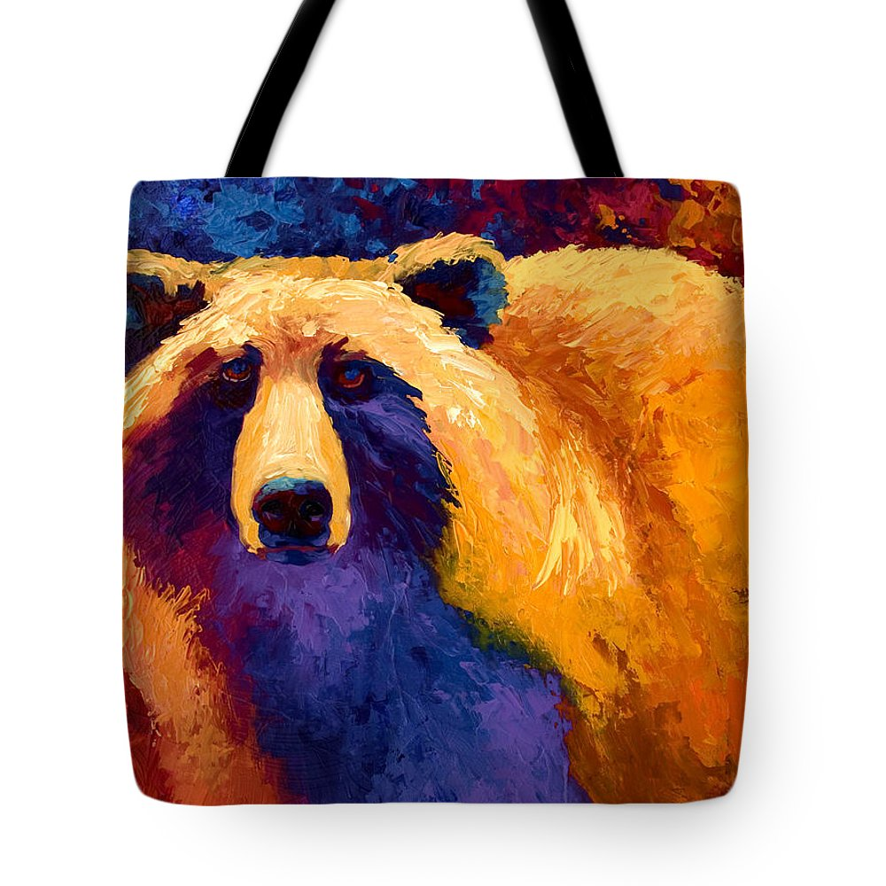 Western Tote Bag featuring the painting Abstract Grizz II by Marion Rose