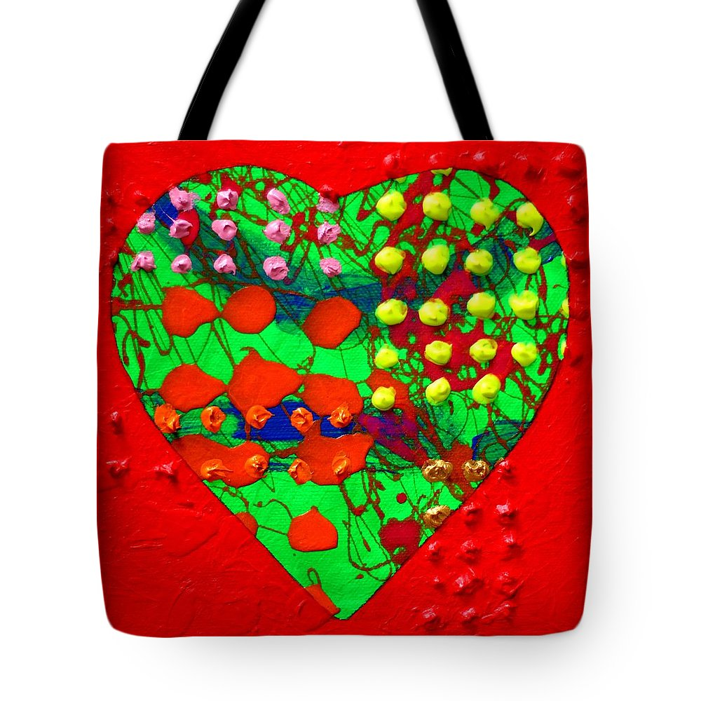 Abstract Tote Bag featuring the painting Abstract Haert 80218 by John Nolan