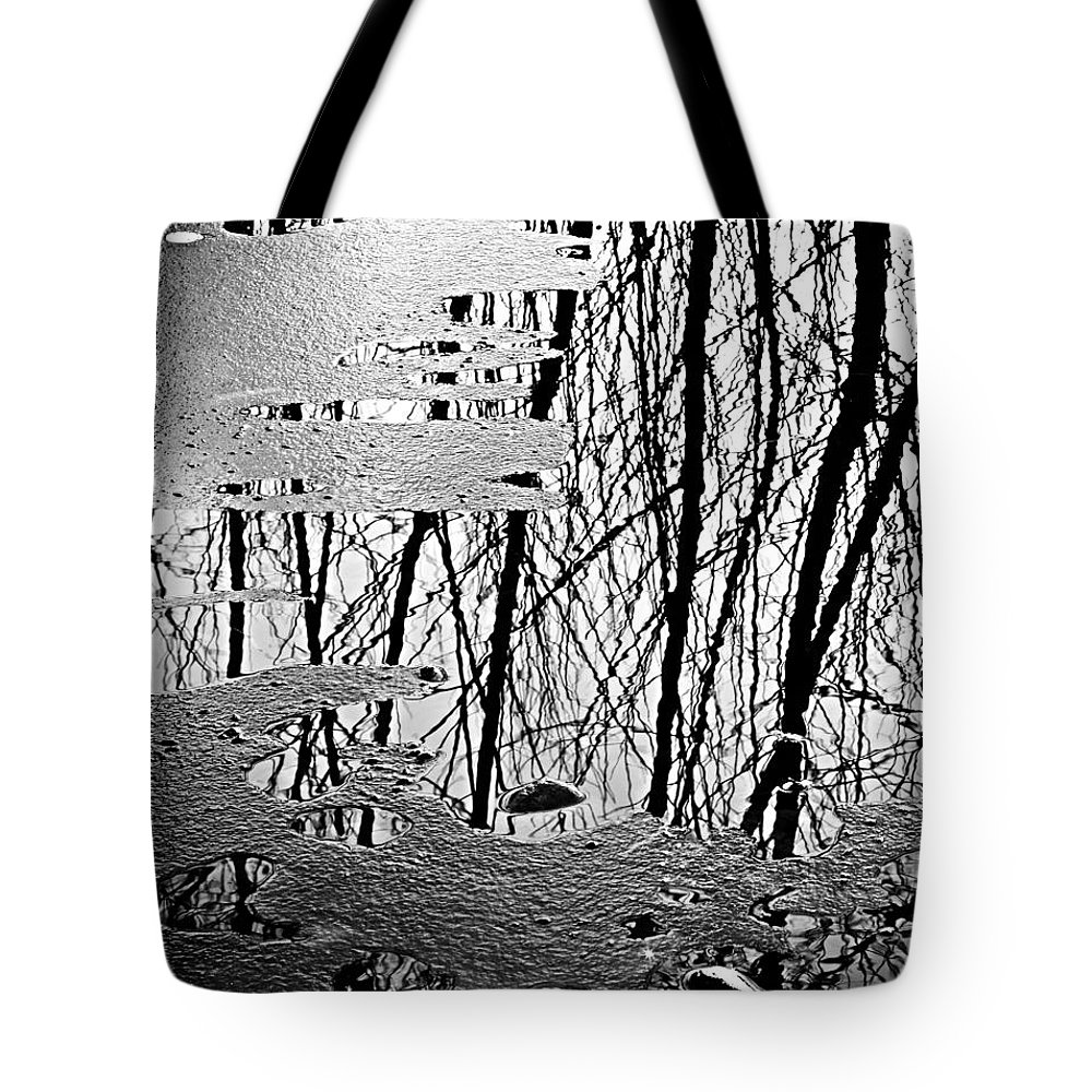 Ice Tote Bag featuring the photograph Abstract In Ice by Marilyn Hunt