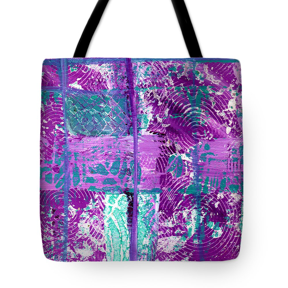 Abstract Tote Bag featuring the painting Abstract In Purple And Teal by Wayne Potrafka