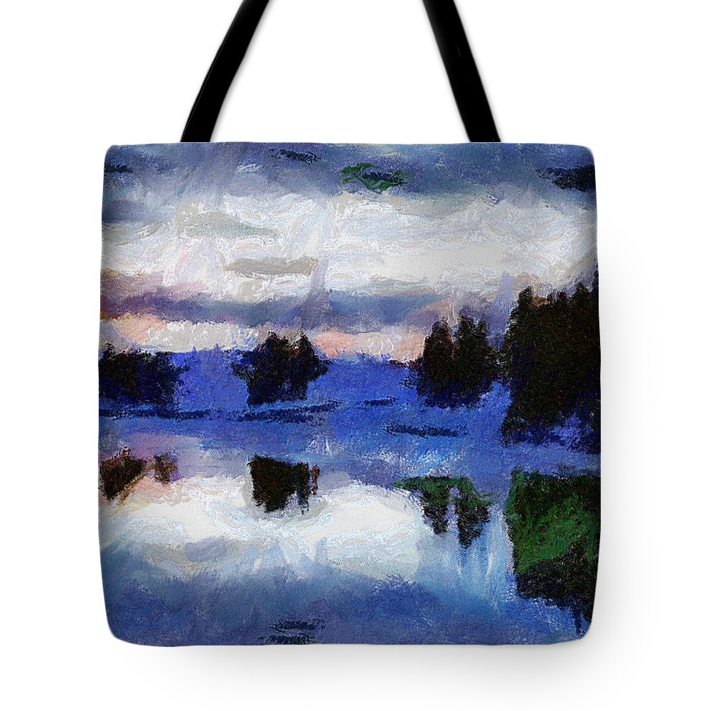 Abstract River Snow Sky Trees Reflects Wather Clouds Red Sunset Green Fairbanks Alaska Tote Bag featuring the photograph Abstract Invernal River by Galeria Trompiz