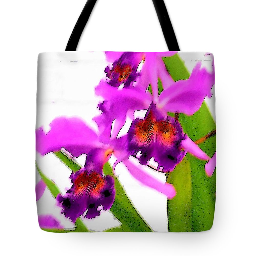 Flowers Tote Bag featuring the digital art Abstract Iris by Anita Burgermeister