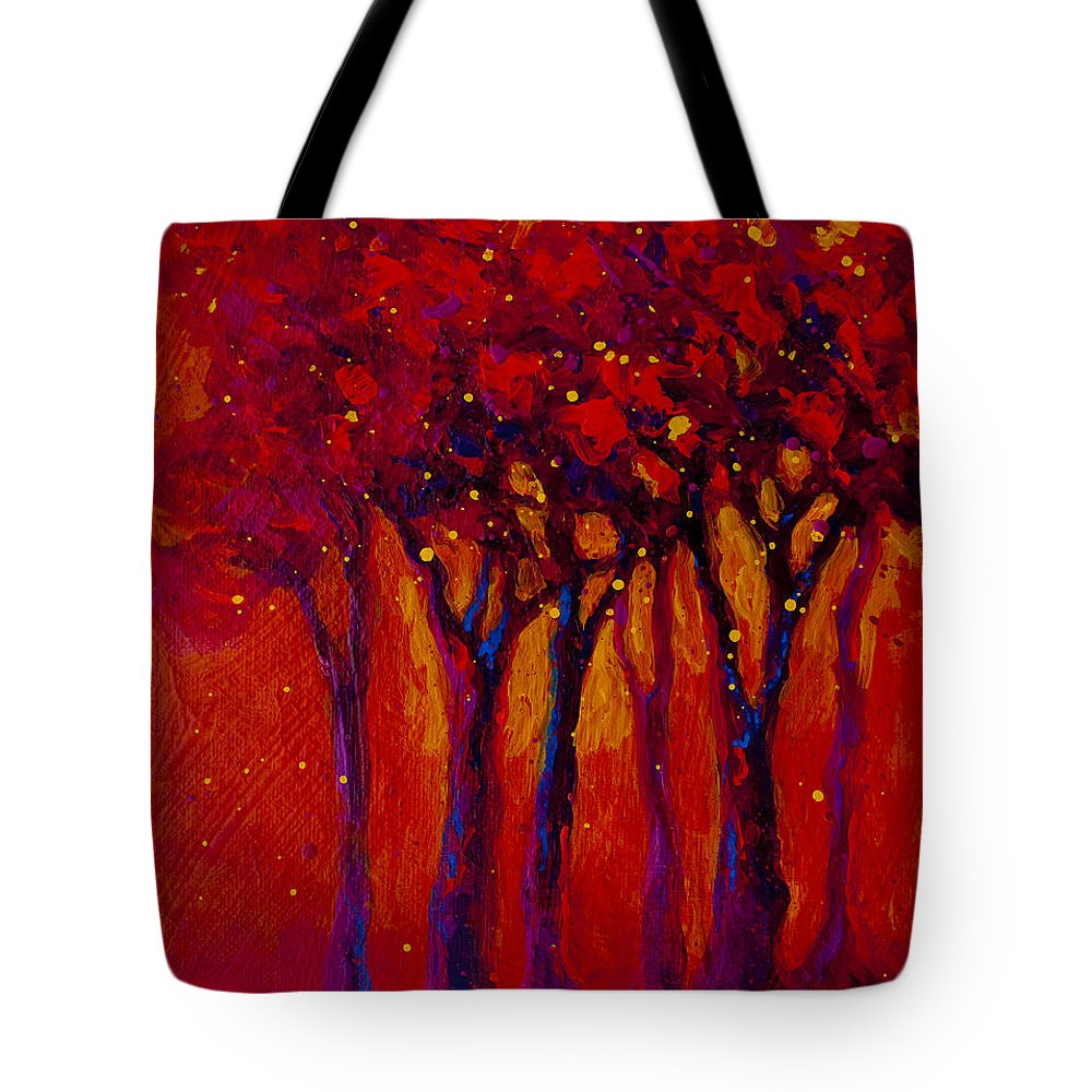 Trees Tote Bag featuring the painting Abstract Landscape 2 by Marion Rose