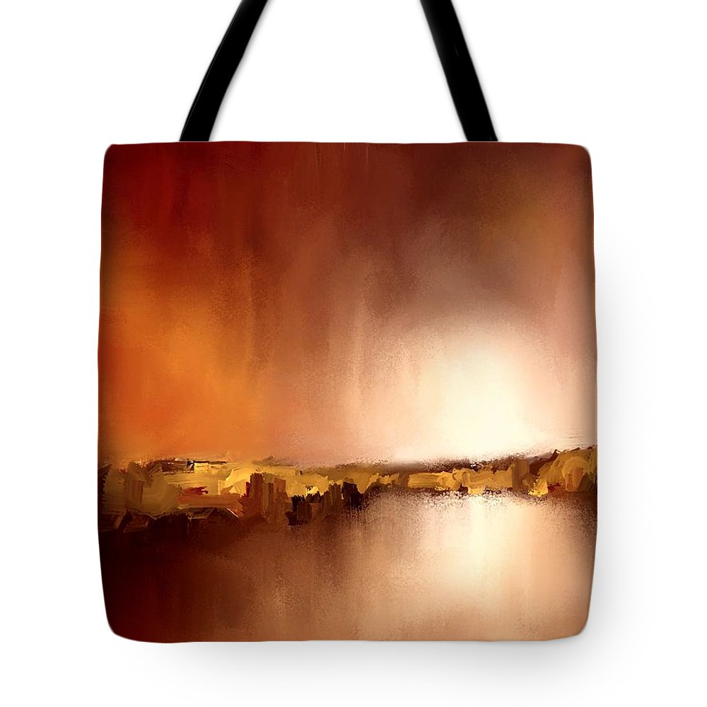 Abstract Tote Bag featuring the painting Abstract Landscape Reflection by Bruce Young