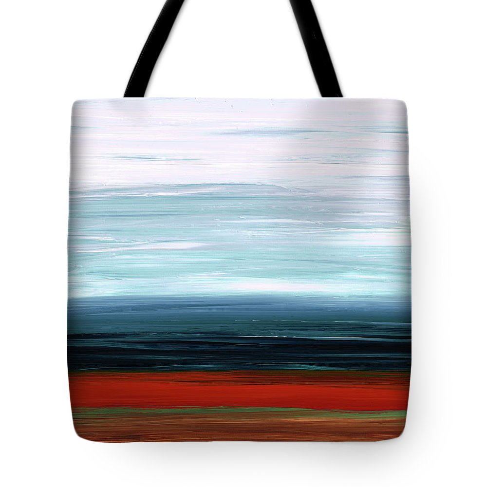 Ruby Tote Bag featuring the painting Abstract Landscape - Ruby Lake - Sharon Cummings by Sharon Cummings