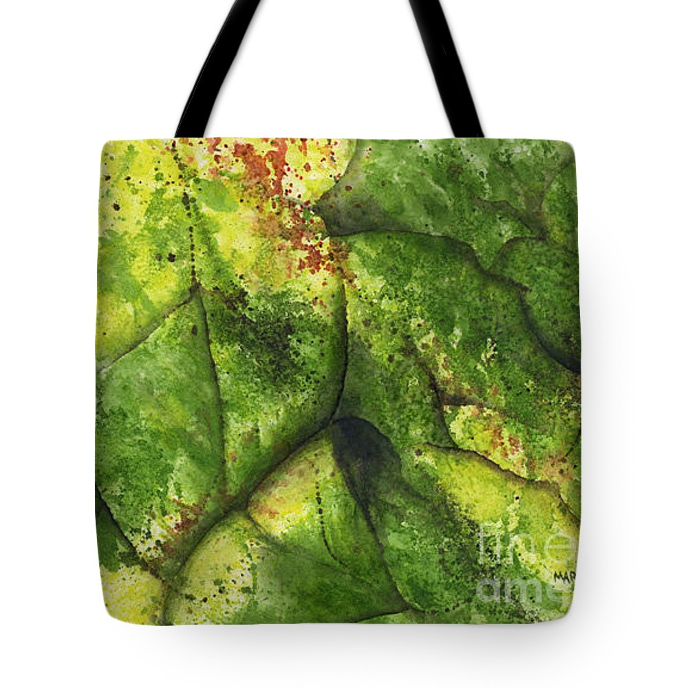 Leaves Tote Bag featuring the painting Abstract Leaf by Mary Tuomi