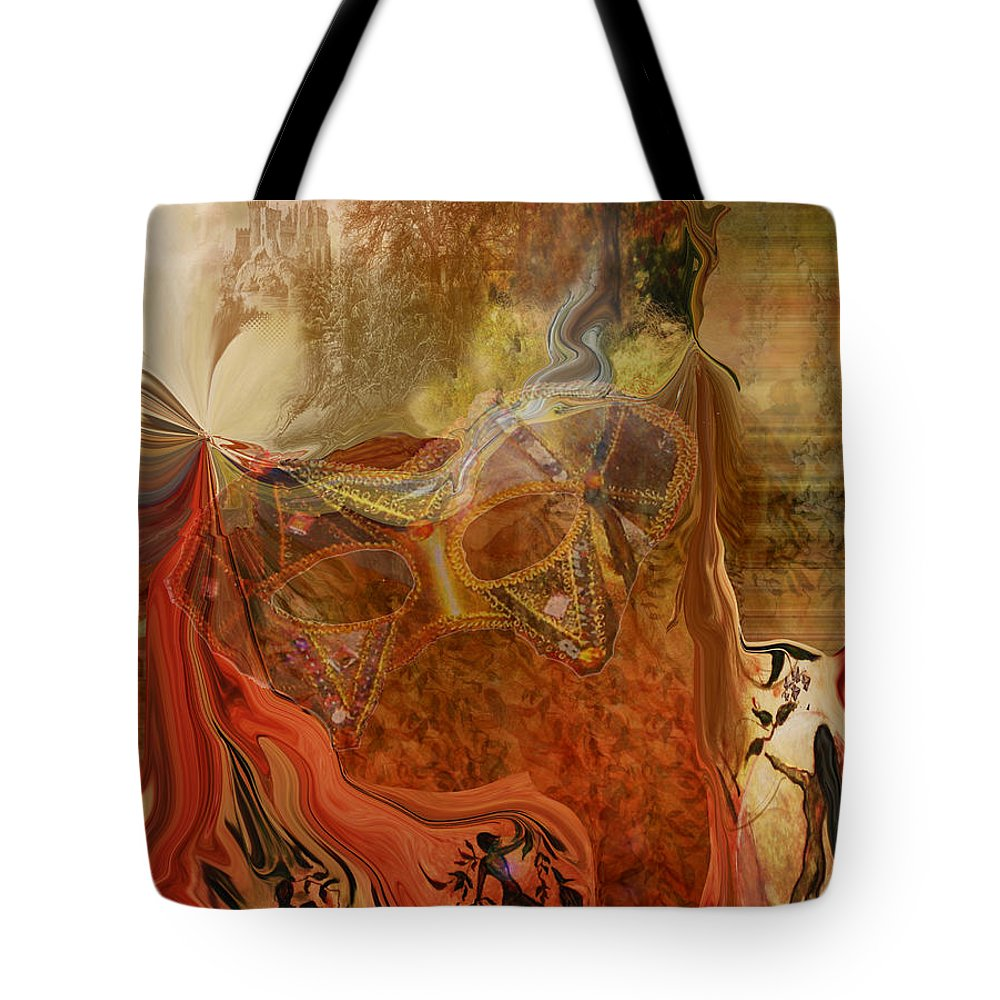 Fantasy Tote Bag featuring the painting Abstract-mask by Patricia Motley