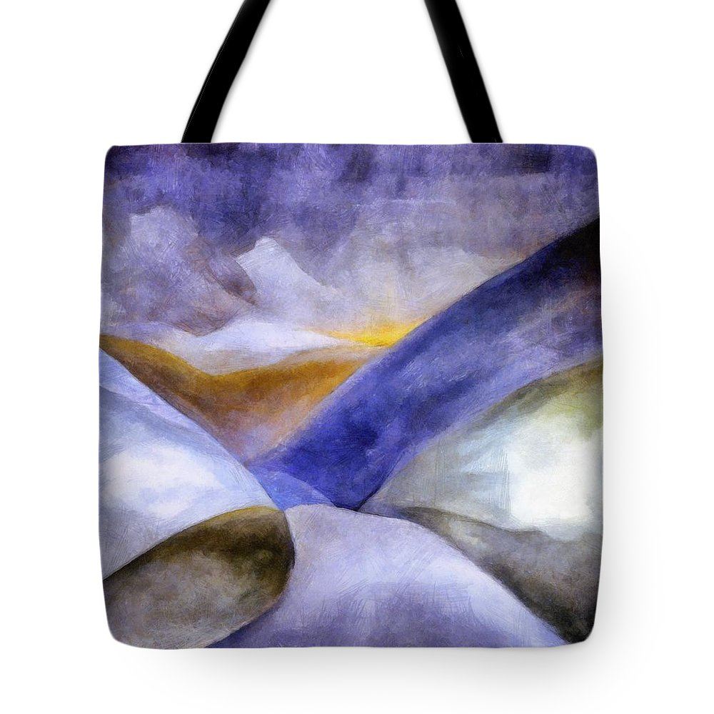 Blue Tote Bag featuring the painting Abstract Mountain Landscape by Michelle Calkins