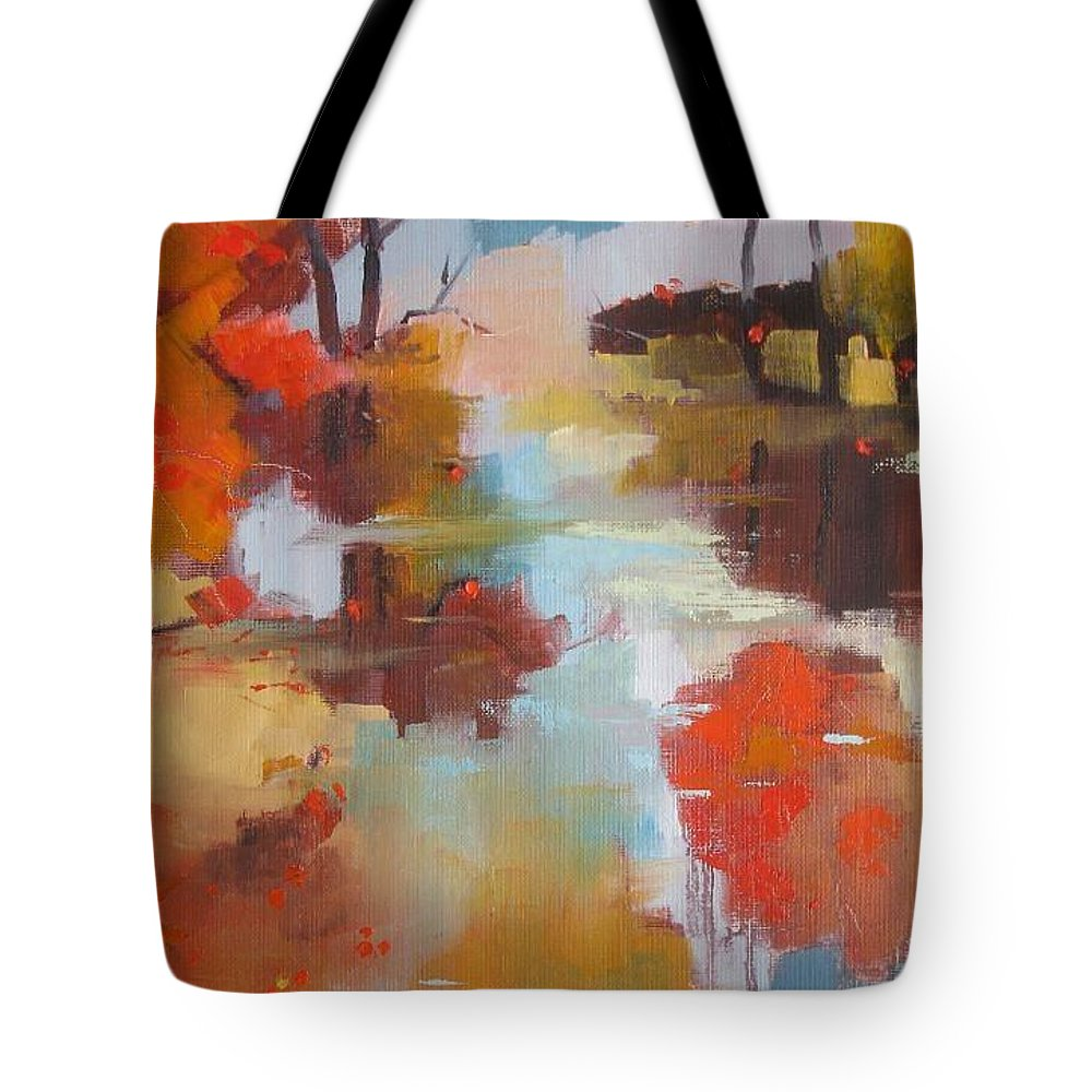 Abstract Tote Bag featuring the painting Abstract Of Wild Auge River by Kim PARDON