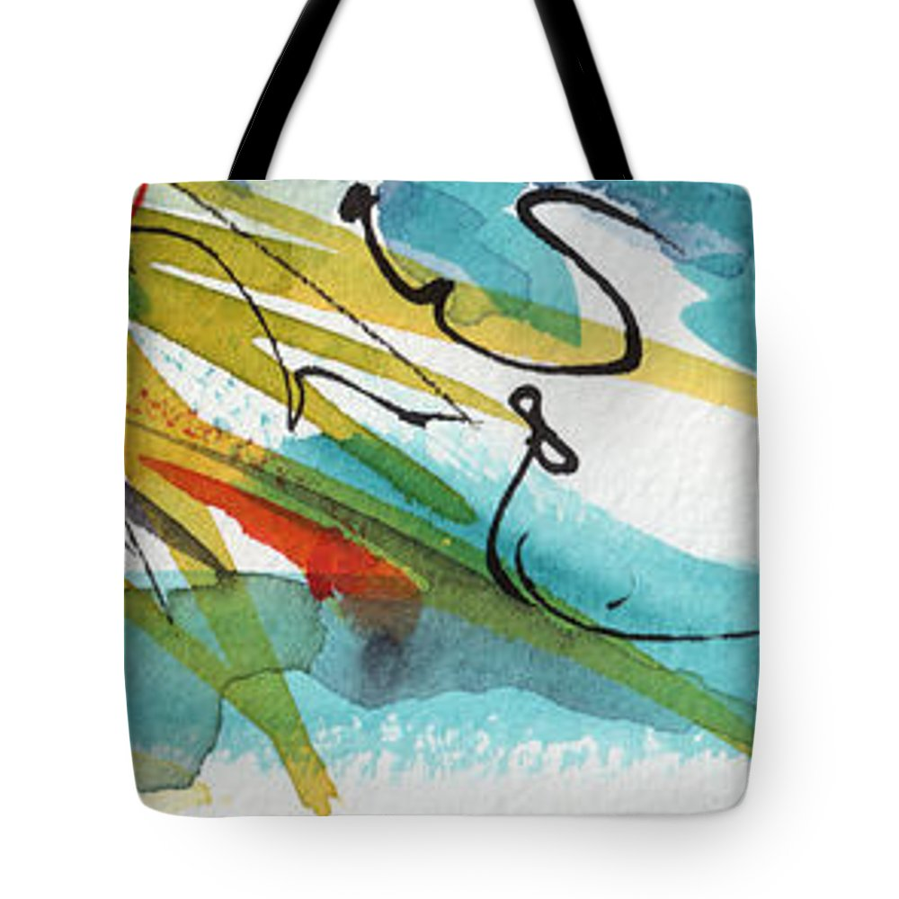 Abstract Tote Bag featuring the painting Abstract Panorama Intuitive Art by Ginette Callaway