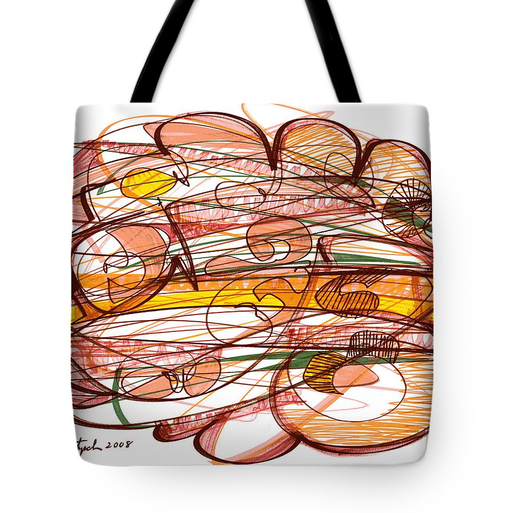 Abstract Art Tote Bag featuring the drawing Abstract Pen Drawing Eight by Lynne Taetzsch