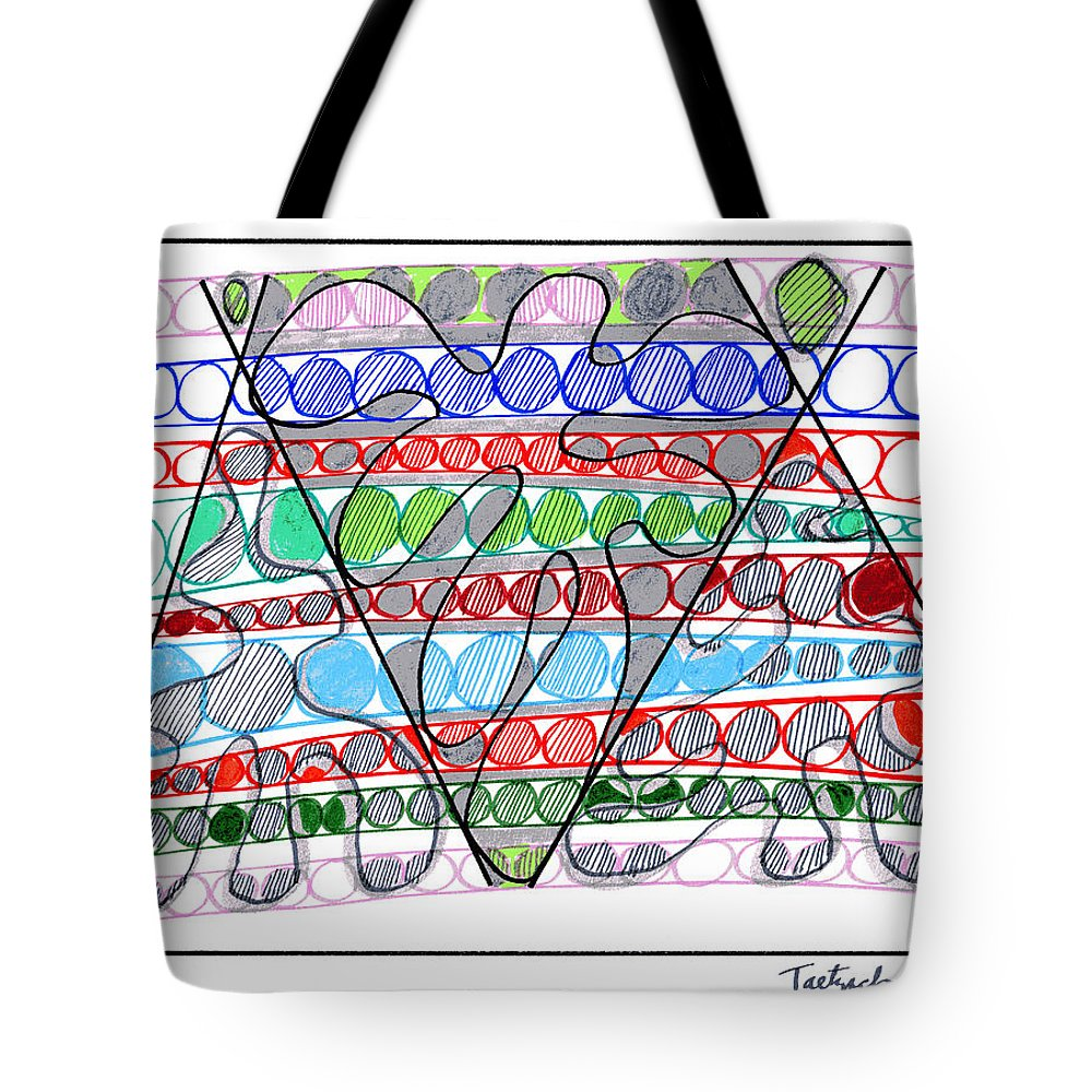 Abstract Art Tote Bag featuring the drawing Abstract Pen Drawing Thirteen by Lynne Taetzsch