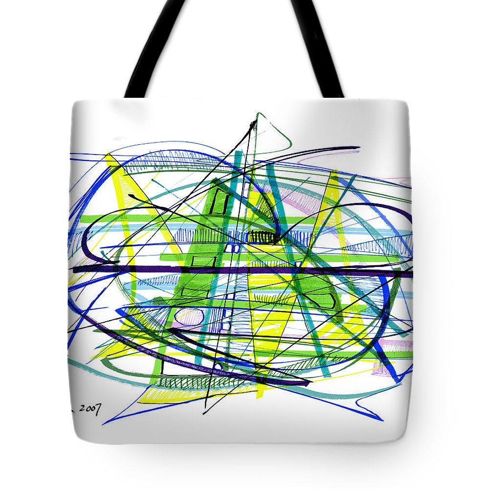 Abstract Tote Bag featuring the drawing Abstract Pen Drawing Thirty by Lynne Taetzsch