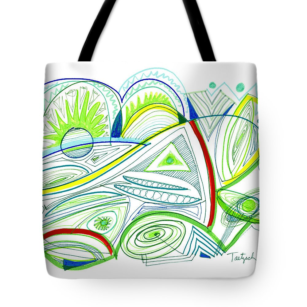Abstract Tote Bag featuring the drawing Abstract Pen Drawing Thirty-two by Lynne Taetzsch