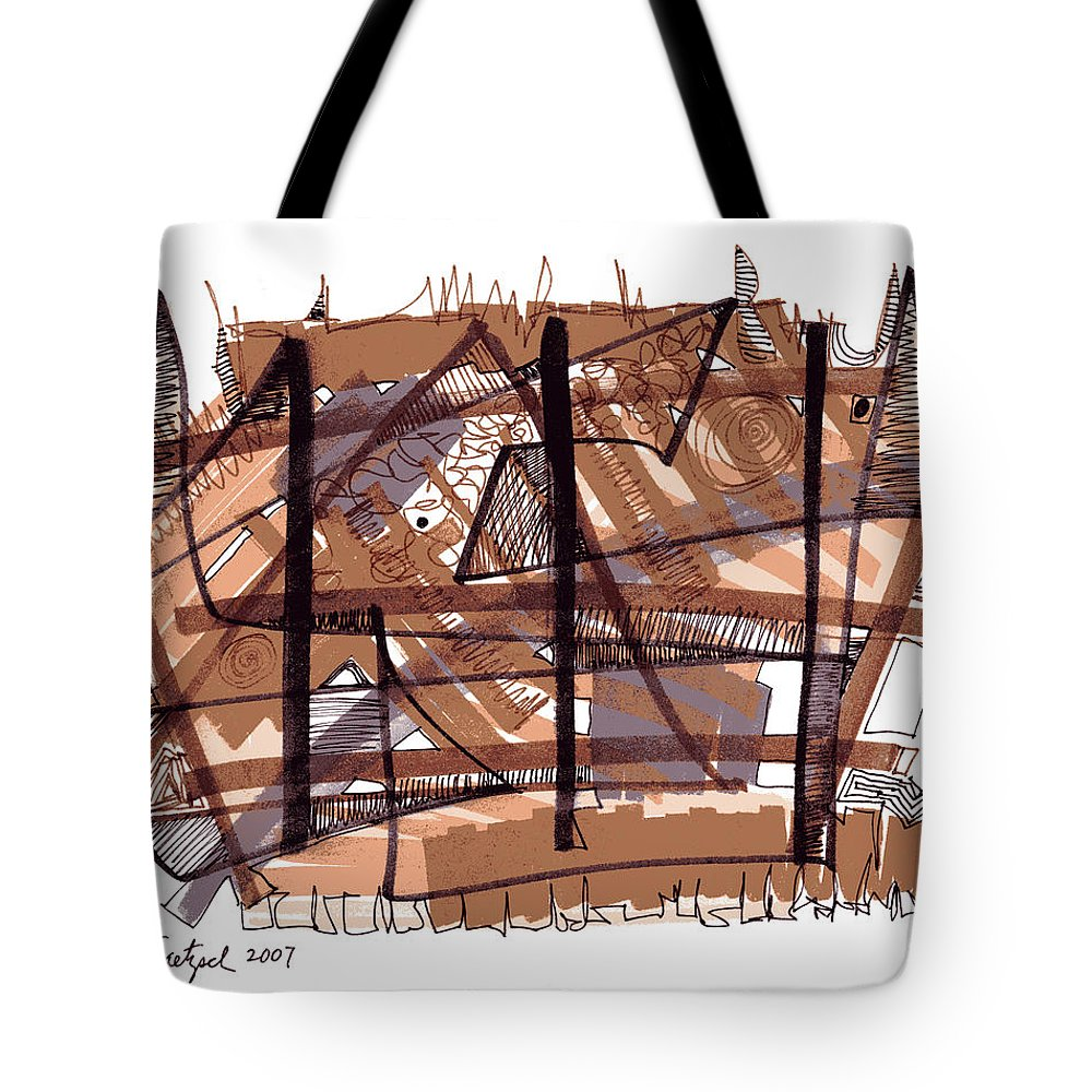 Abstract Art Tote Bag featuring the drawing Abstract Pen Drawing Twelve by Lynne Taetzsch