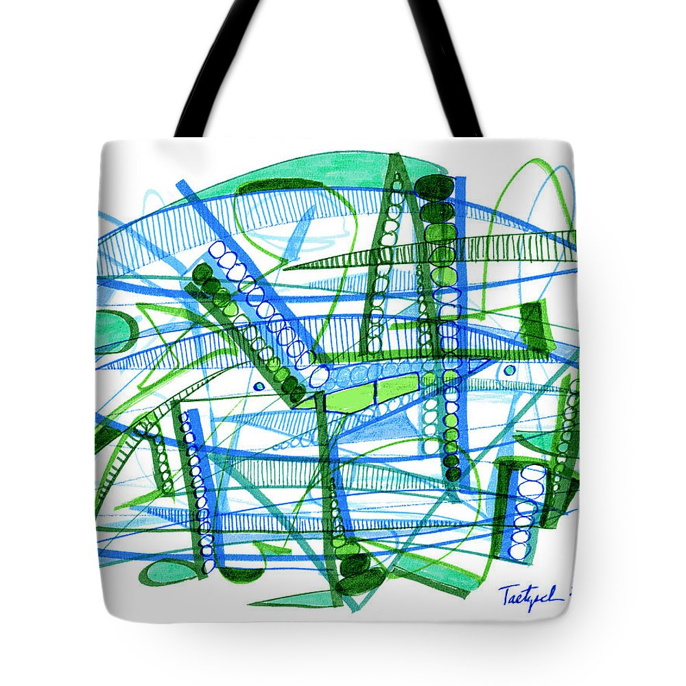 Abstract Tote Bag featuring the drawing Abstract Pen Drawing Twenty-eight by Lynne Taetzsch
