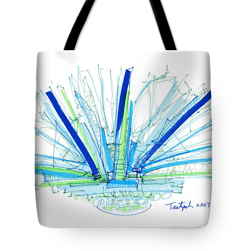 Abstract Tote Bag featuring the drawing Abstract Pen Drawing Twenty-nine by Lynne Taetzsch