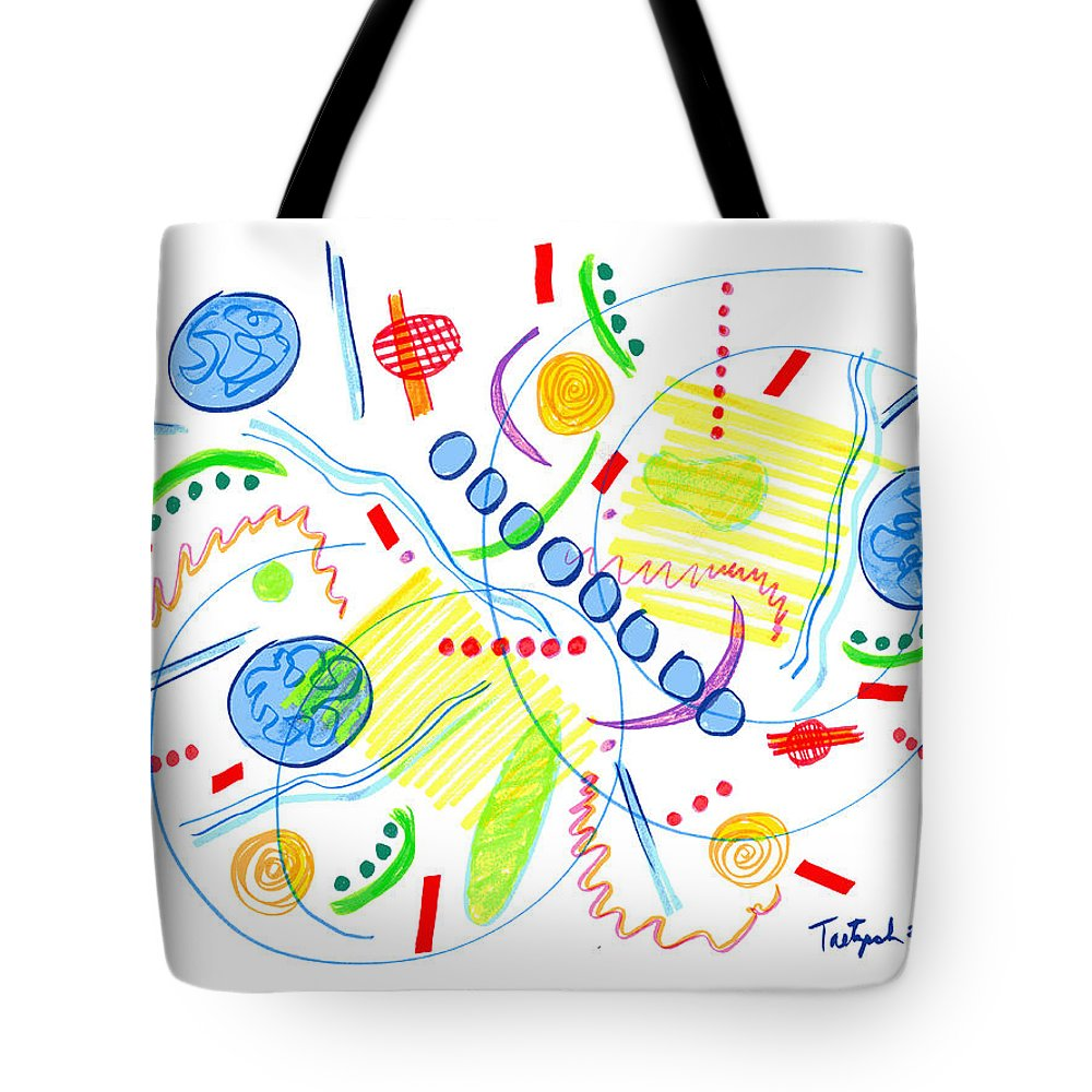 Abstract Tote Bag featuring the drawing Abstract Pen Drawing Twenty-seven by Lynne Taetzsch
