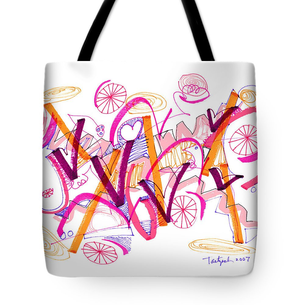 Abstract Tote Bag featuring the drawing Abstract Pen Drawing Twenty-six by Lynne Taetzsch